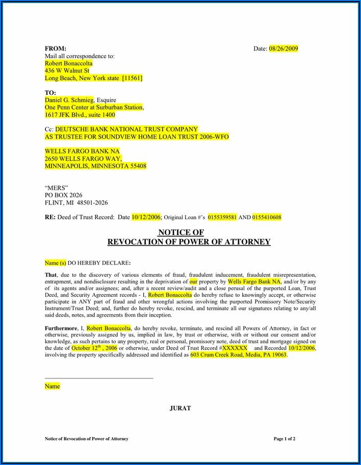 Revocation Of Power Of Attorney Form Ny