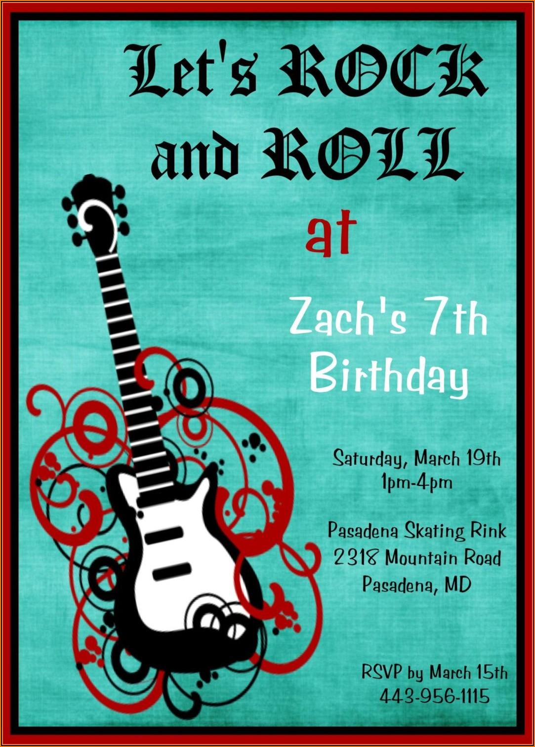 Rock Star Birthday Party Invitations Boy Templates