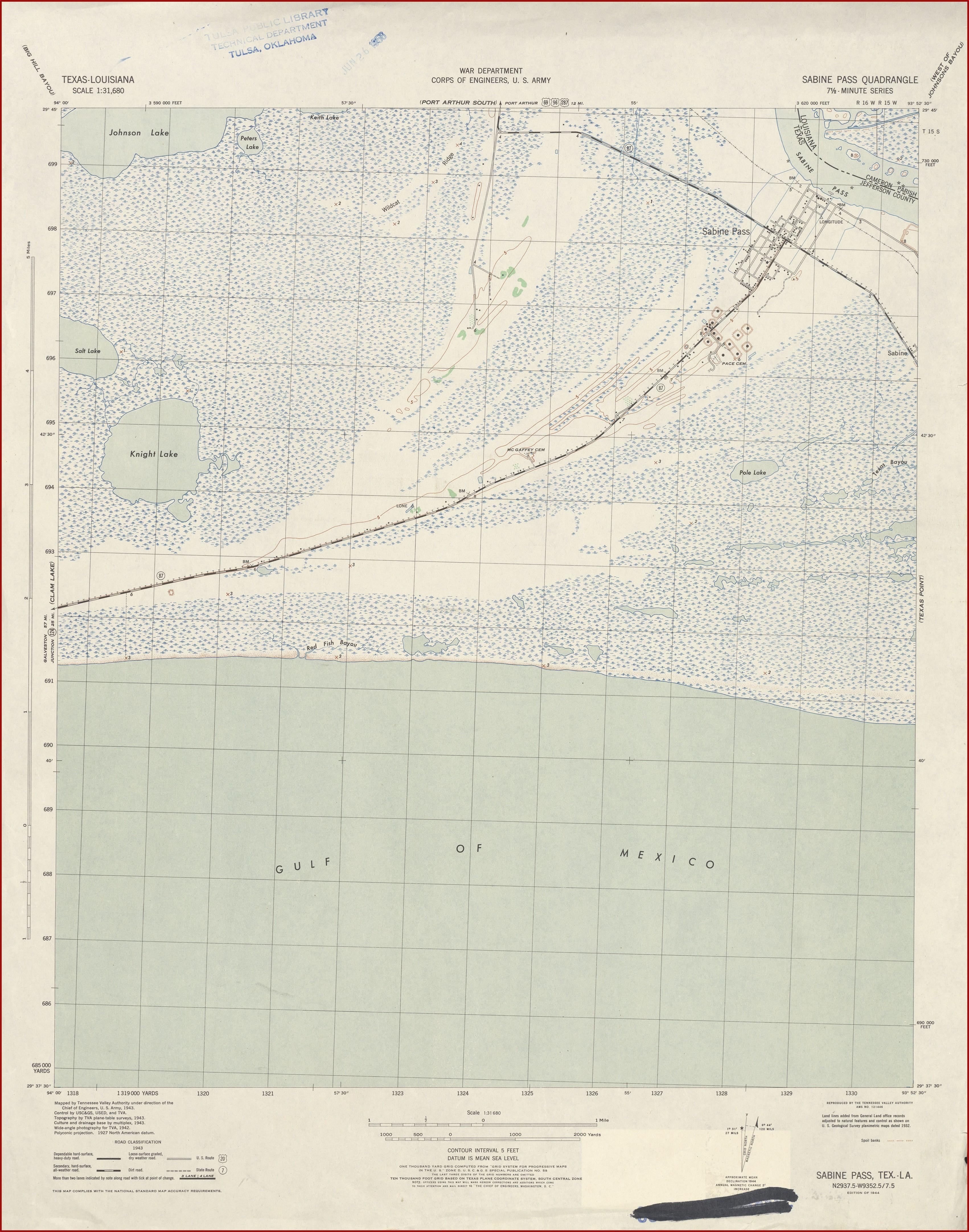 Sabine Lake Contour Map