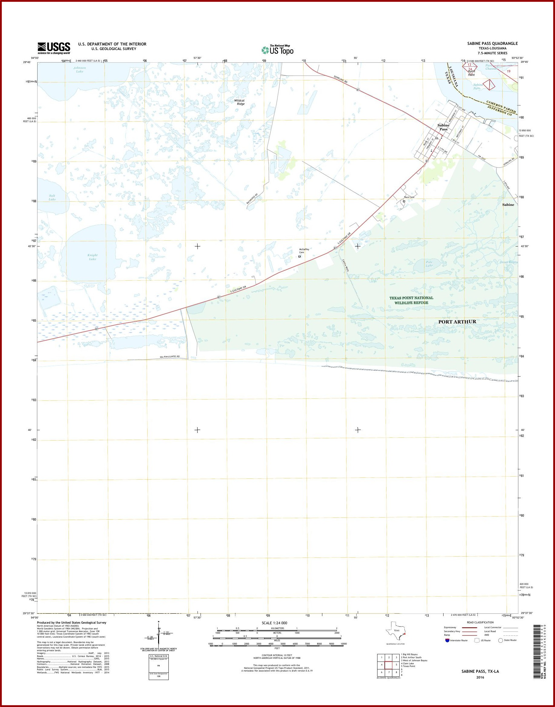 Sabine Lake Topographic Map