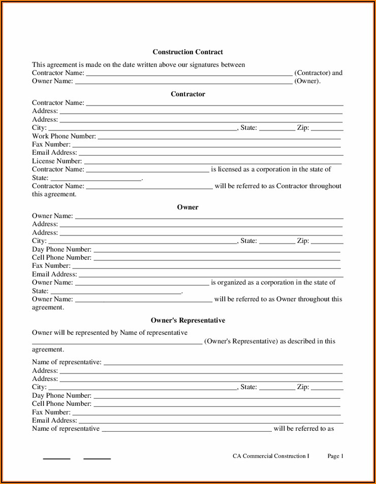 Sample Contractor Contract Template