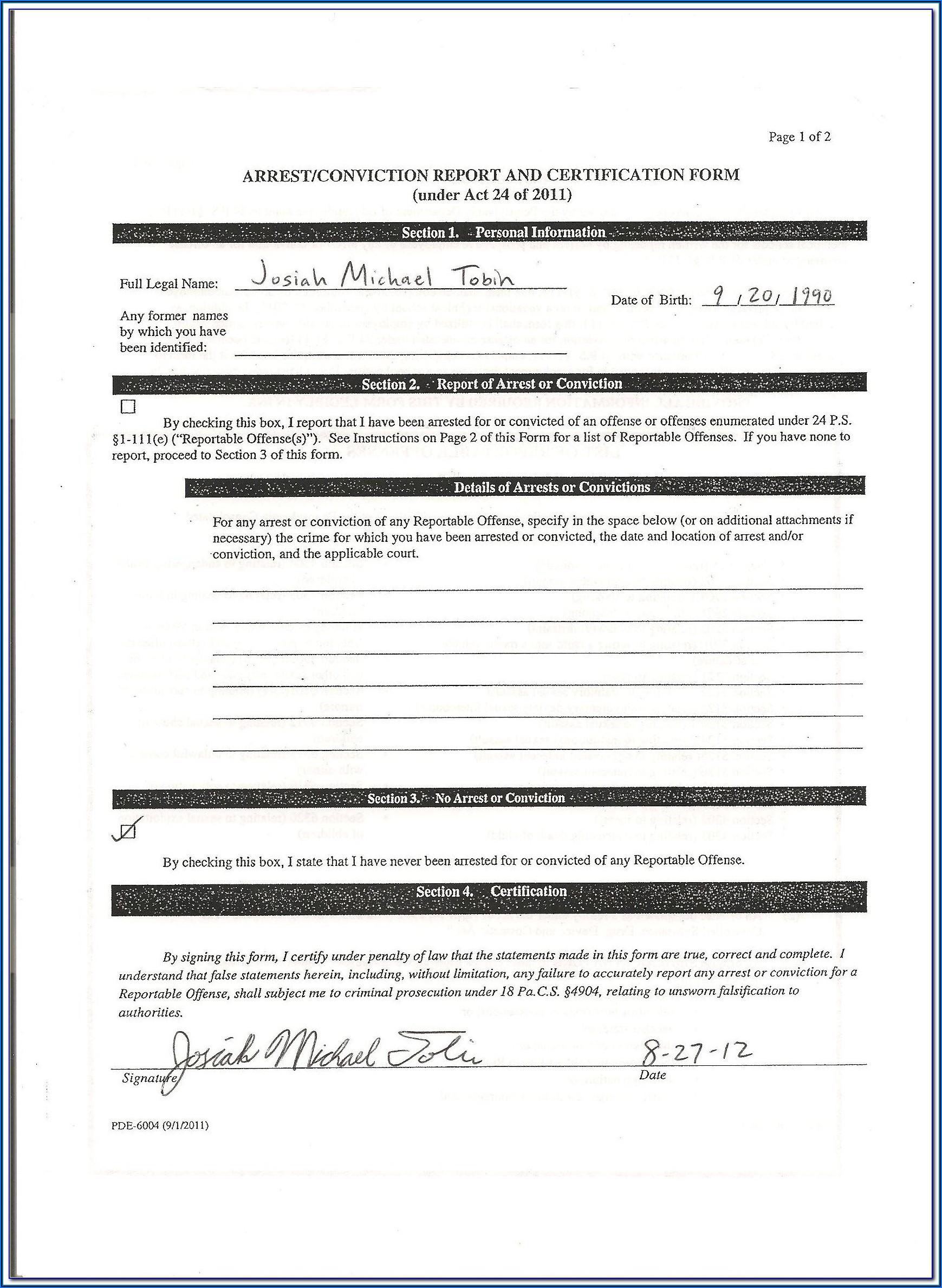 Sample Criminal Background Check Authorization Form