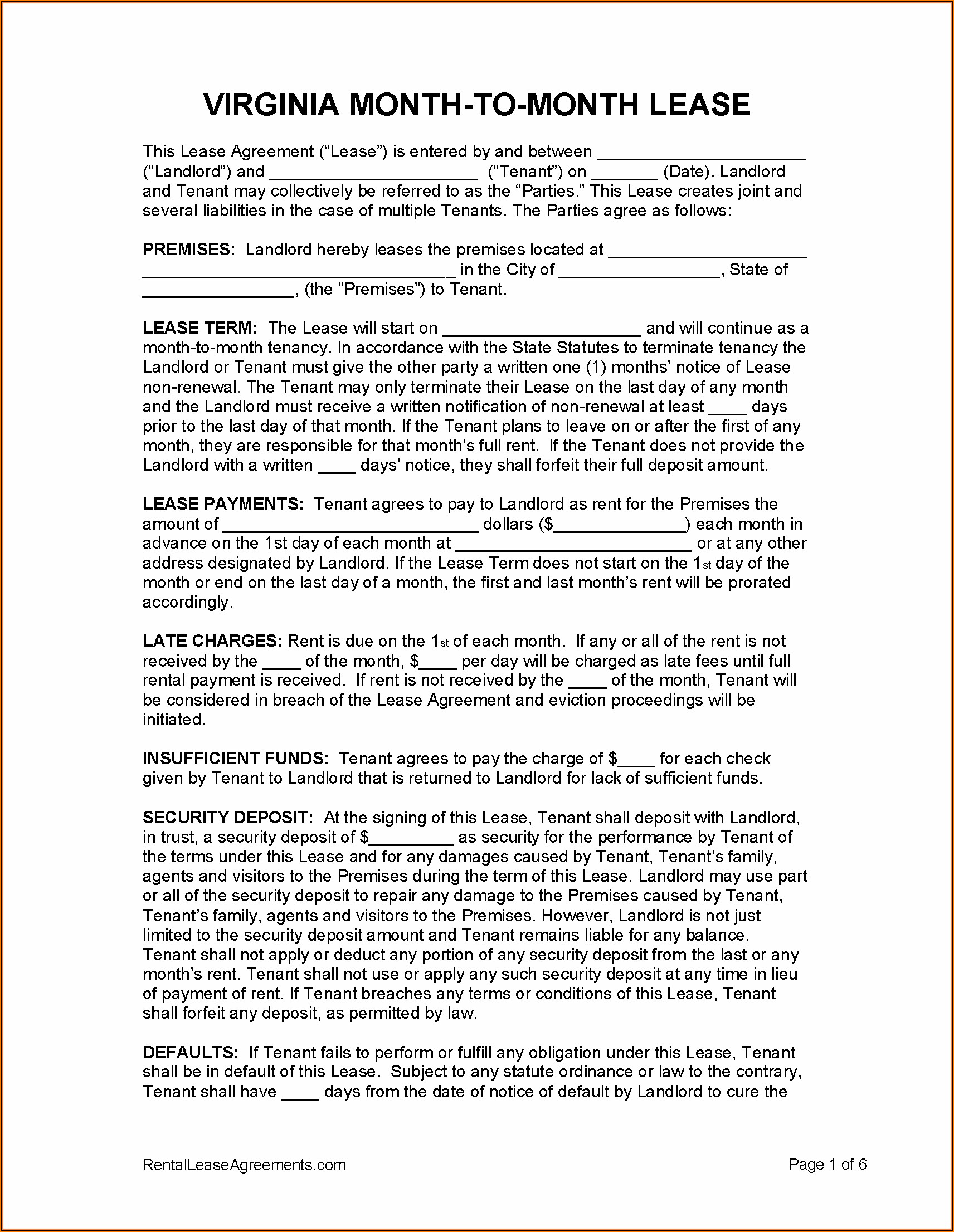 Sample Residential Lease Agreement Virginia