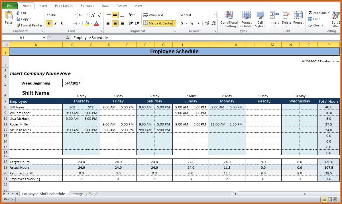 Shift Schedule Excel Templates