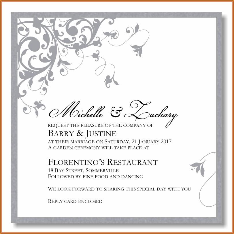 Silver And White Wedding Invitation Templates