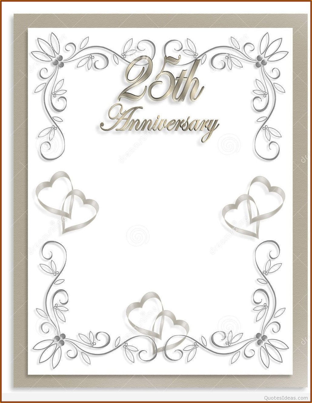 Silver Wedding Anniversary Invitations Templates