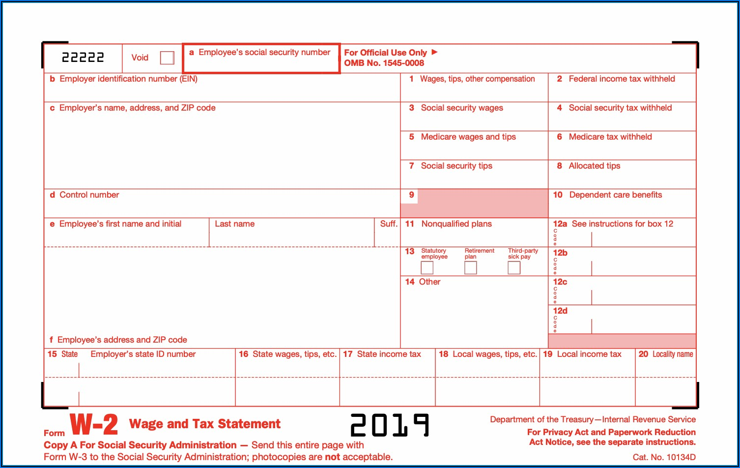 Social Security W2 Tax Form