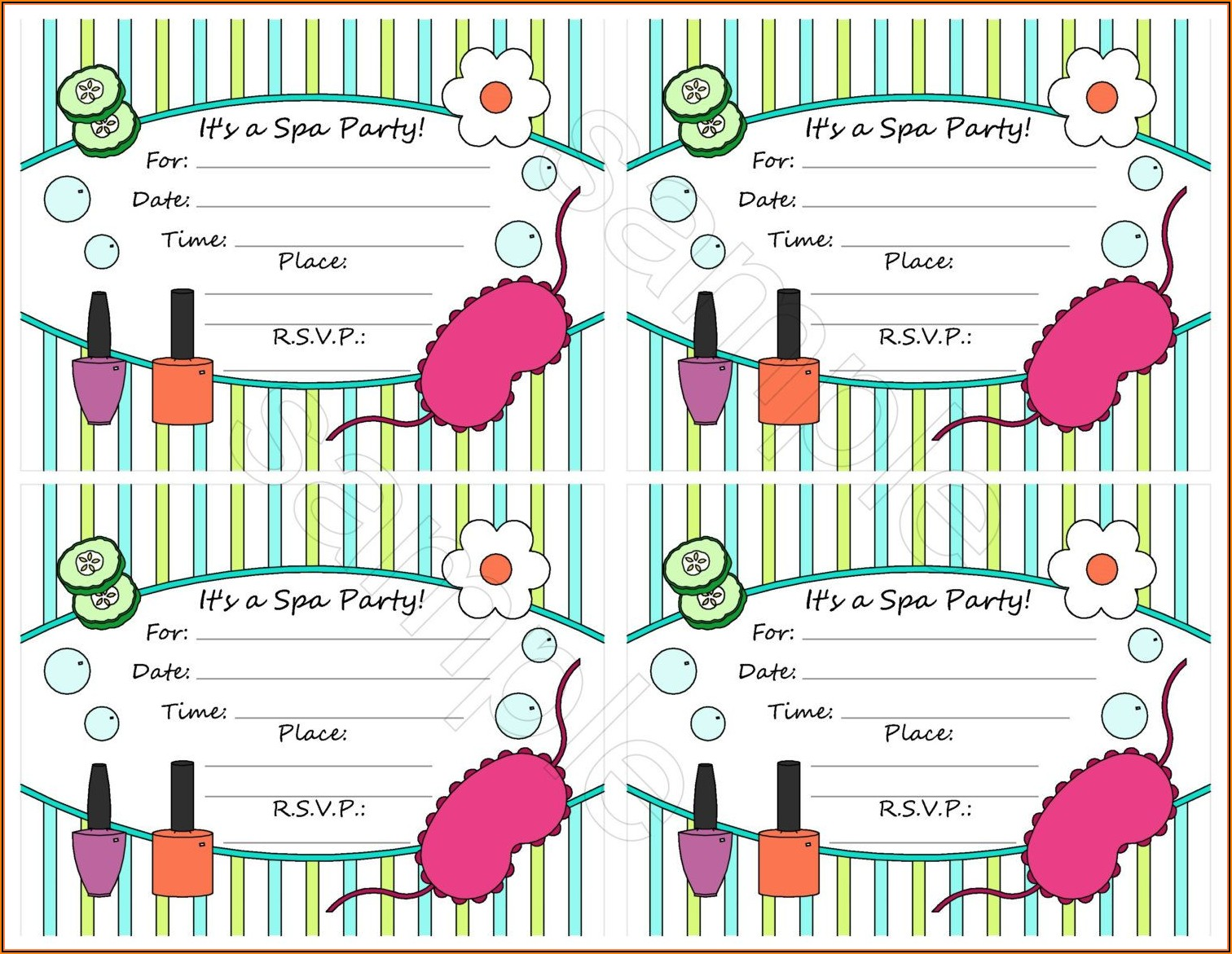 Spa Birthday Party Invitation Template