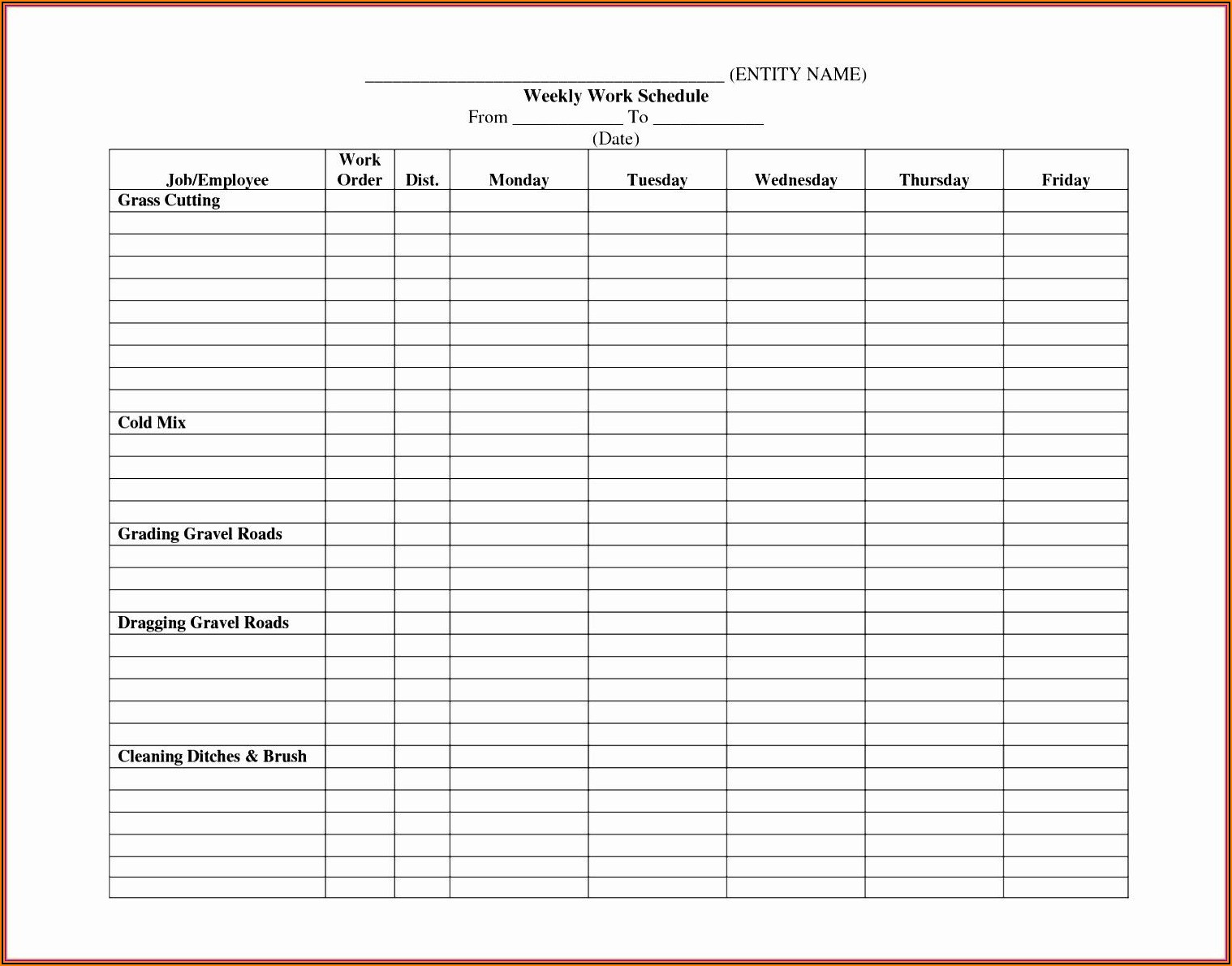 Staffing Schedule Template