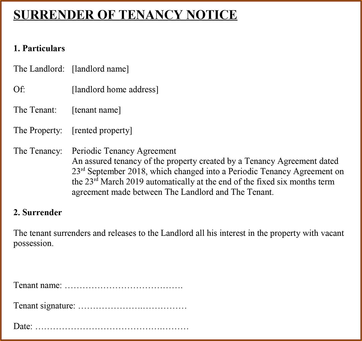 Surrender Of Tenancy Agreement Template