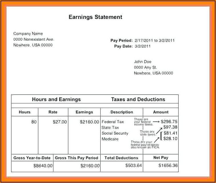 Template For Employee Pay Stub
