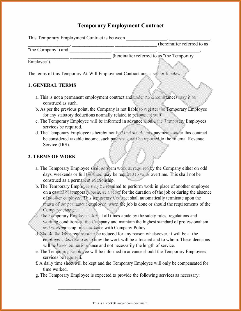 Temporary Employment Contract Template Free Download