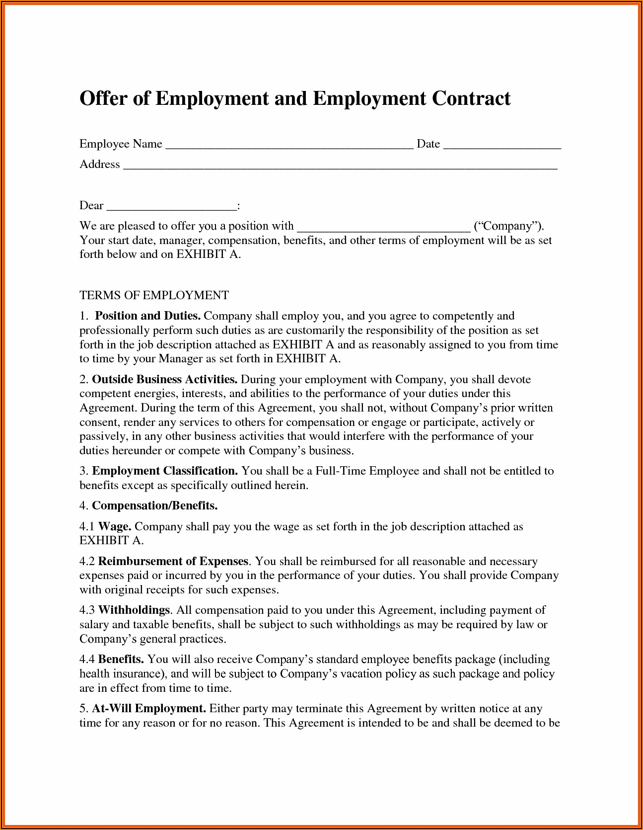 Temporary Employment Contract Template Free