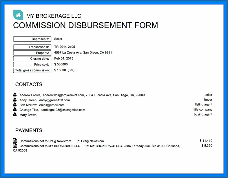 Texas Real Estate Commission Disbursement Form