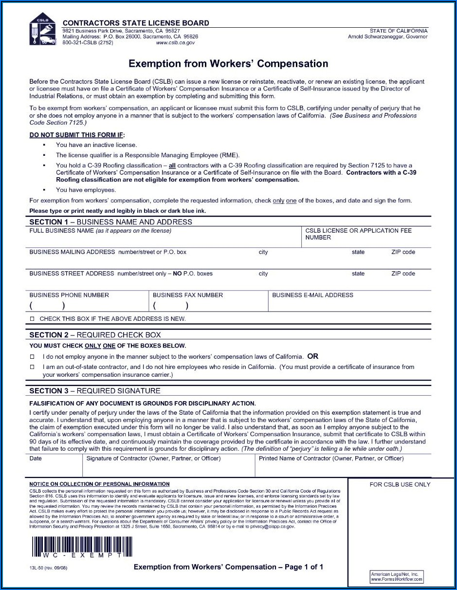 Texas Workmans Comp Waiver Form