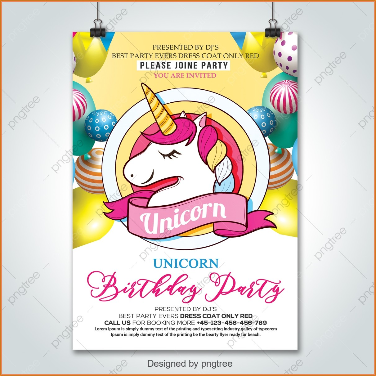 Unicorn Birthday Party Invitation Template Free