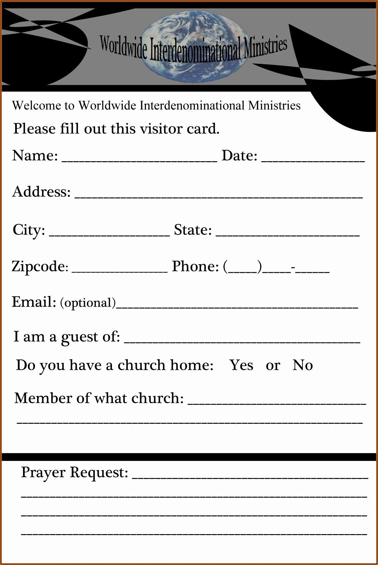 Visitor Card Template Church