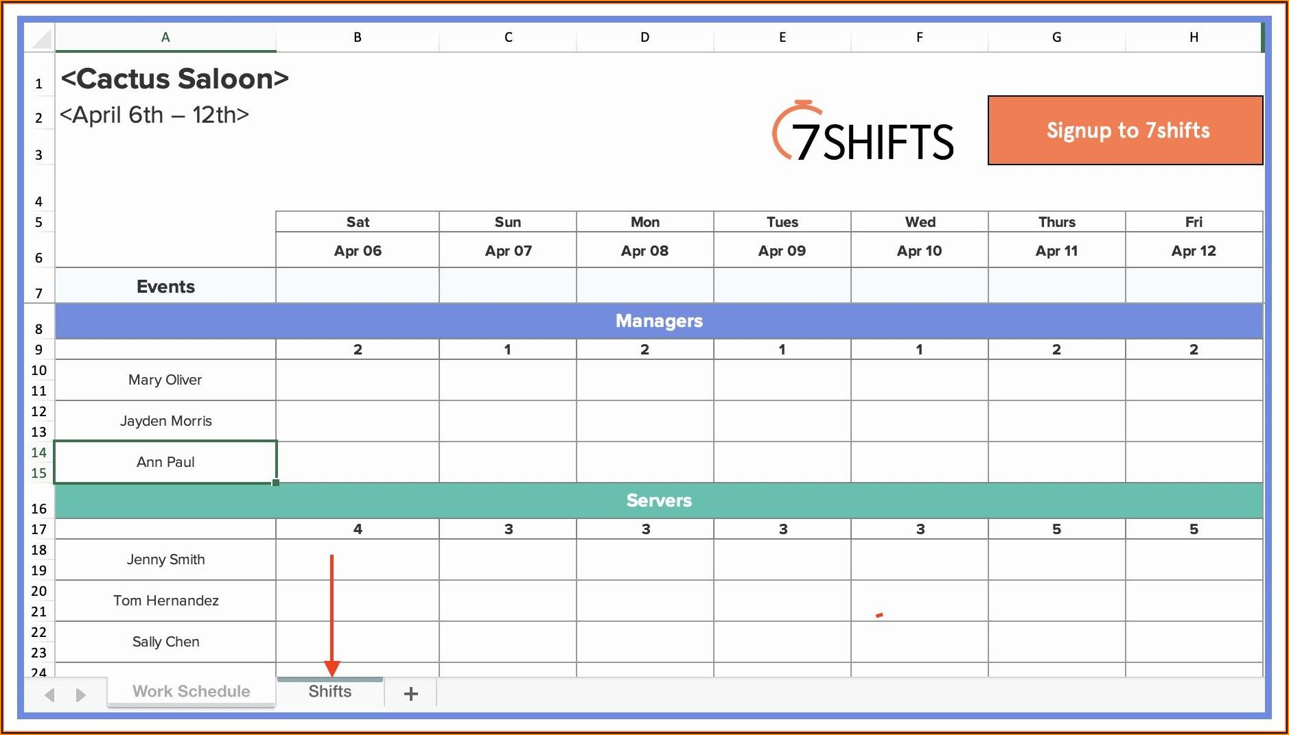 Work Shift Schedule Excel Template