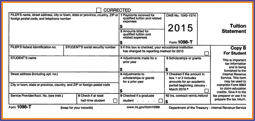 1098 Mortgage Interest Tax Form