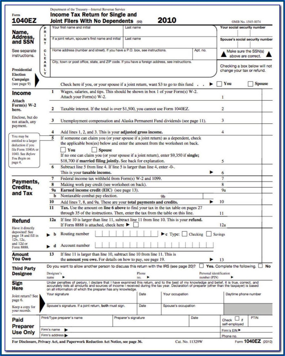 2014 Tax Form 1040 Ez