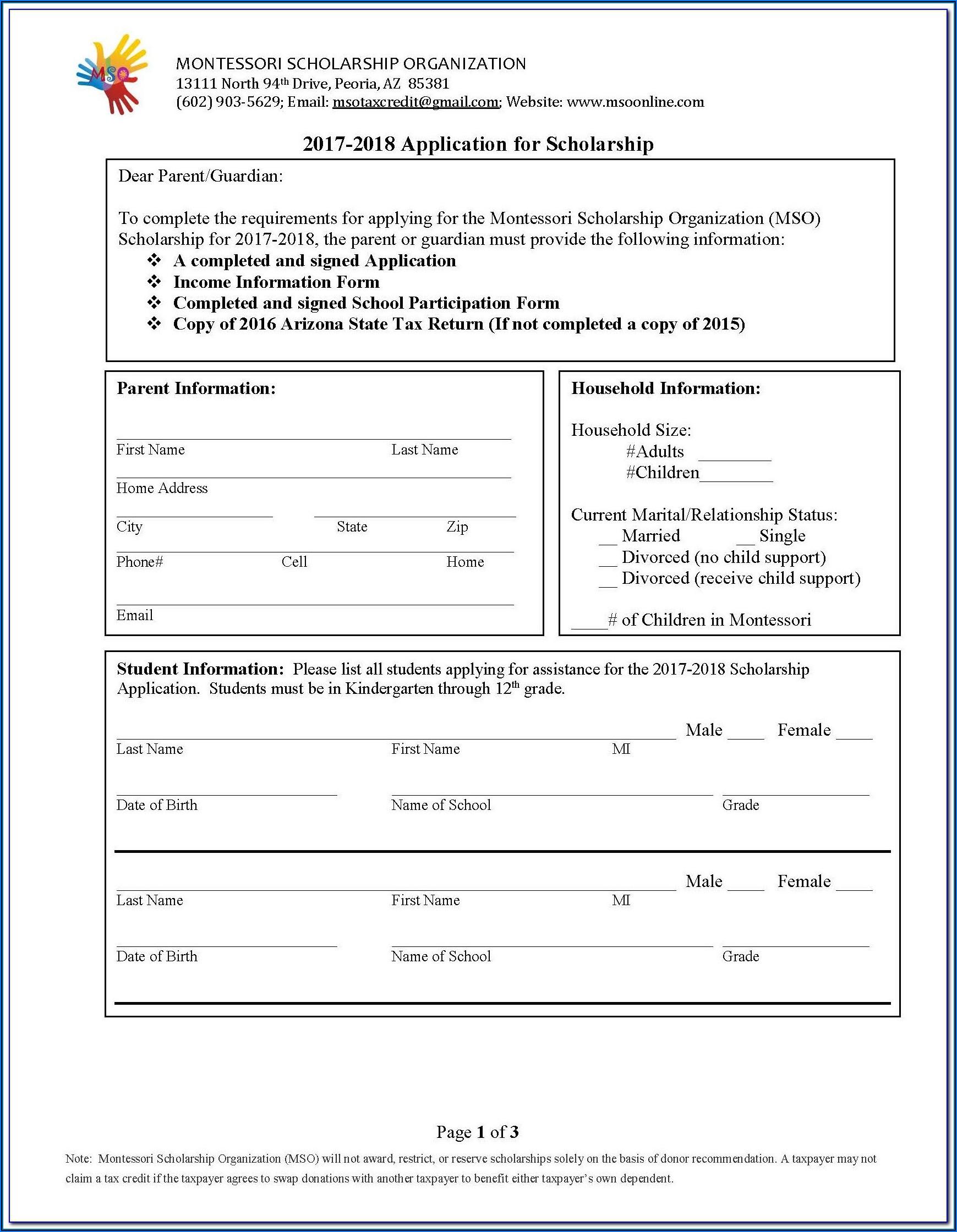 5013c Non Profit Form