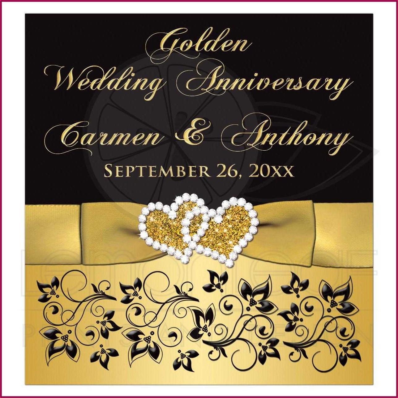 50th Wedding Anniversary Wine Label Template
