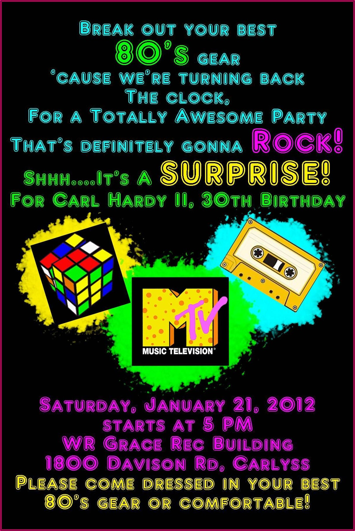 80's Theme Party Invitation Template