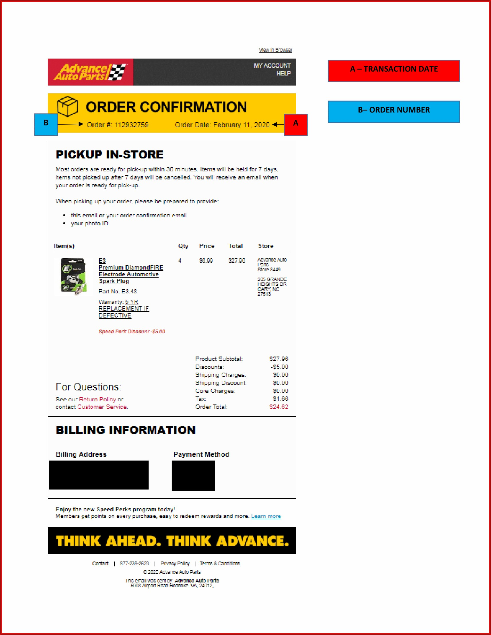 Advance Auto Parts Receipt Template