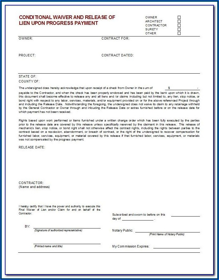 Aia Contractor Lien Release Form