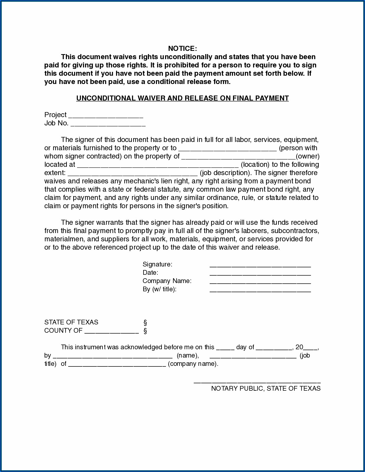 Aia Lien Release Waiver Form