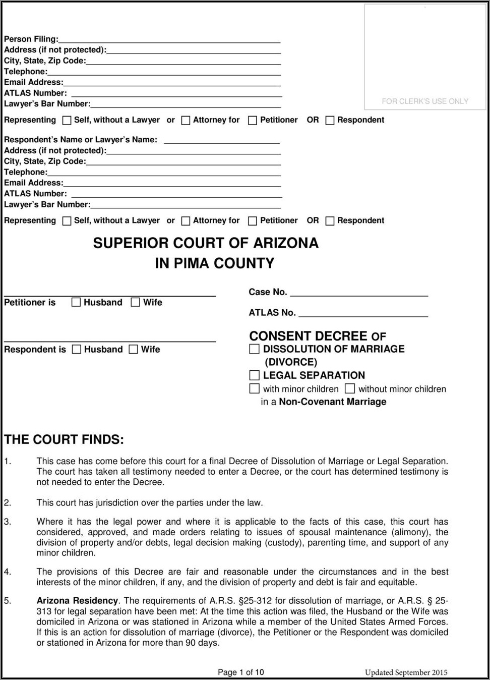 Arizona Divorce Forms Pdf Pima County