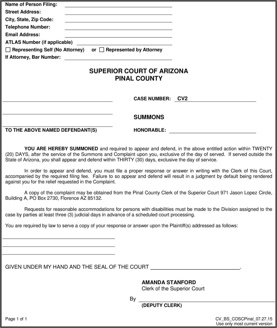 Arizona Divorce Forms Pinal County
