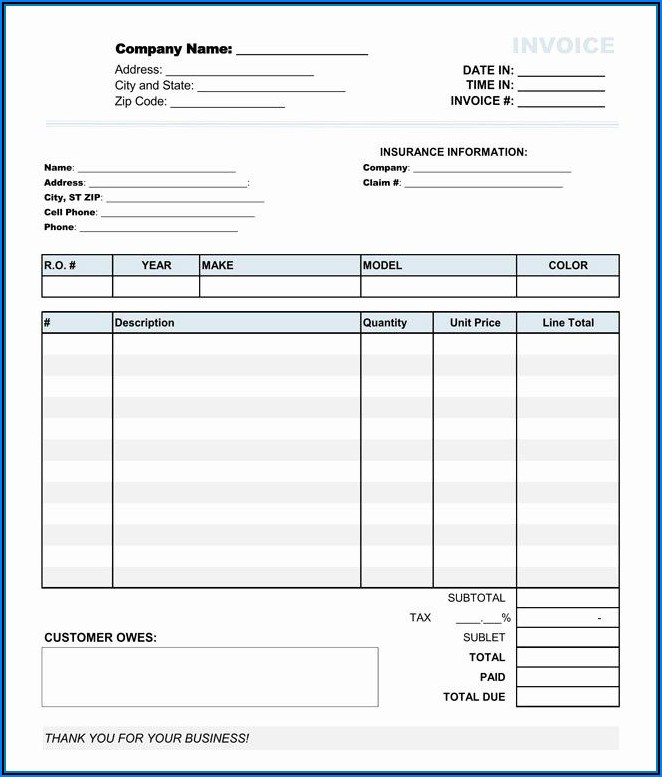 Auto Repair Estimate Form Pdf