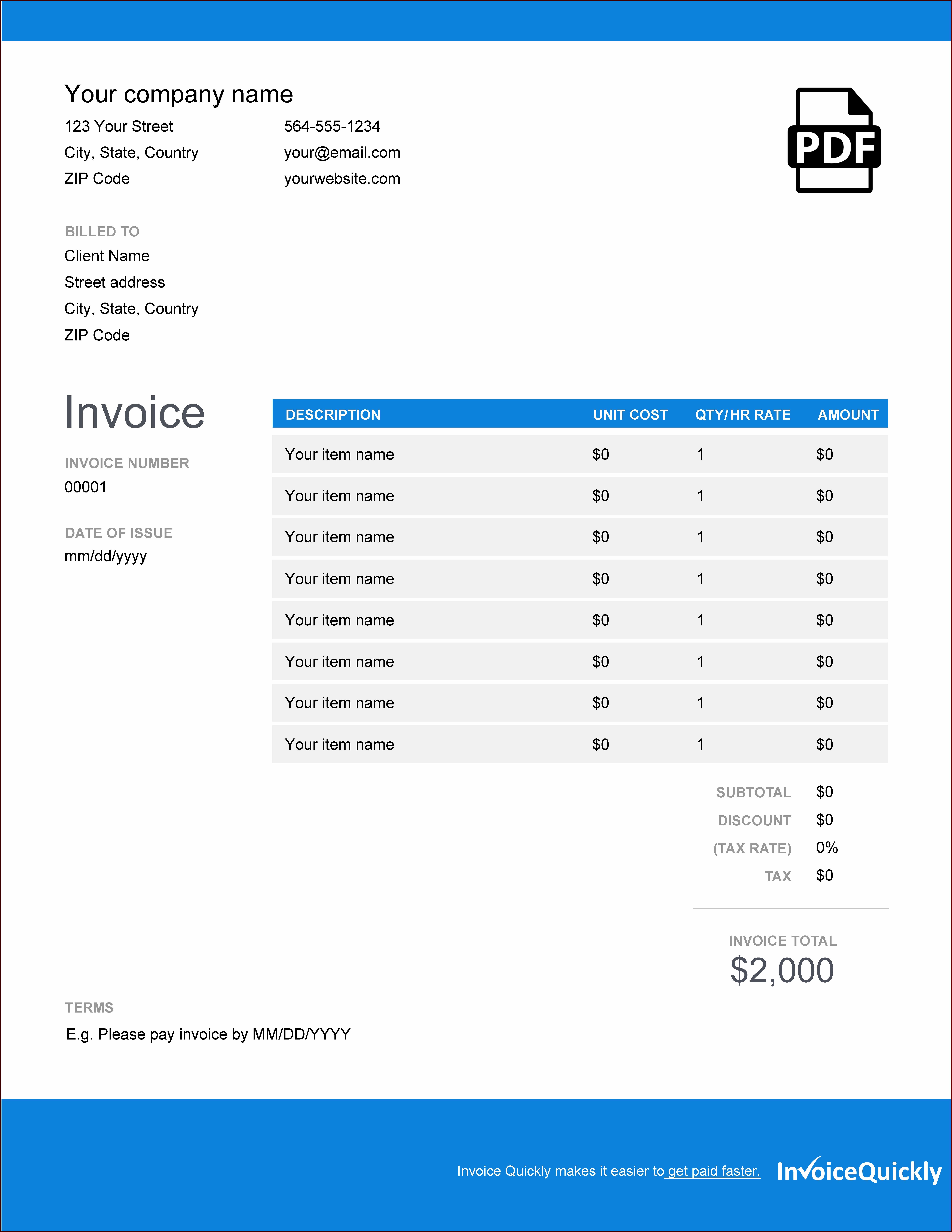 Auto Spare Parts Invoice Template