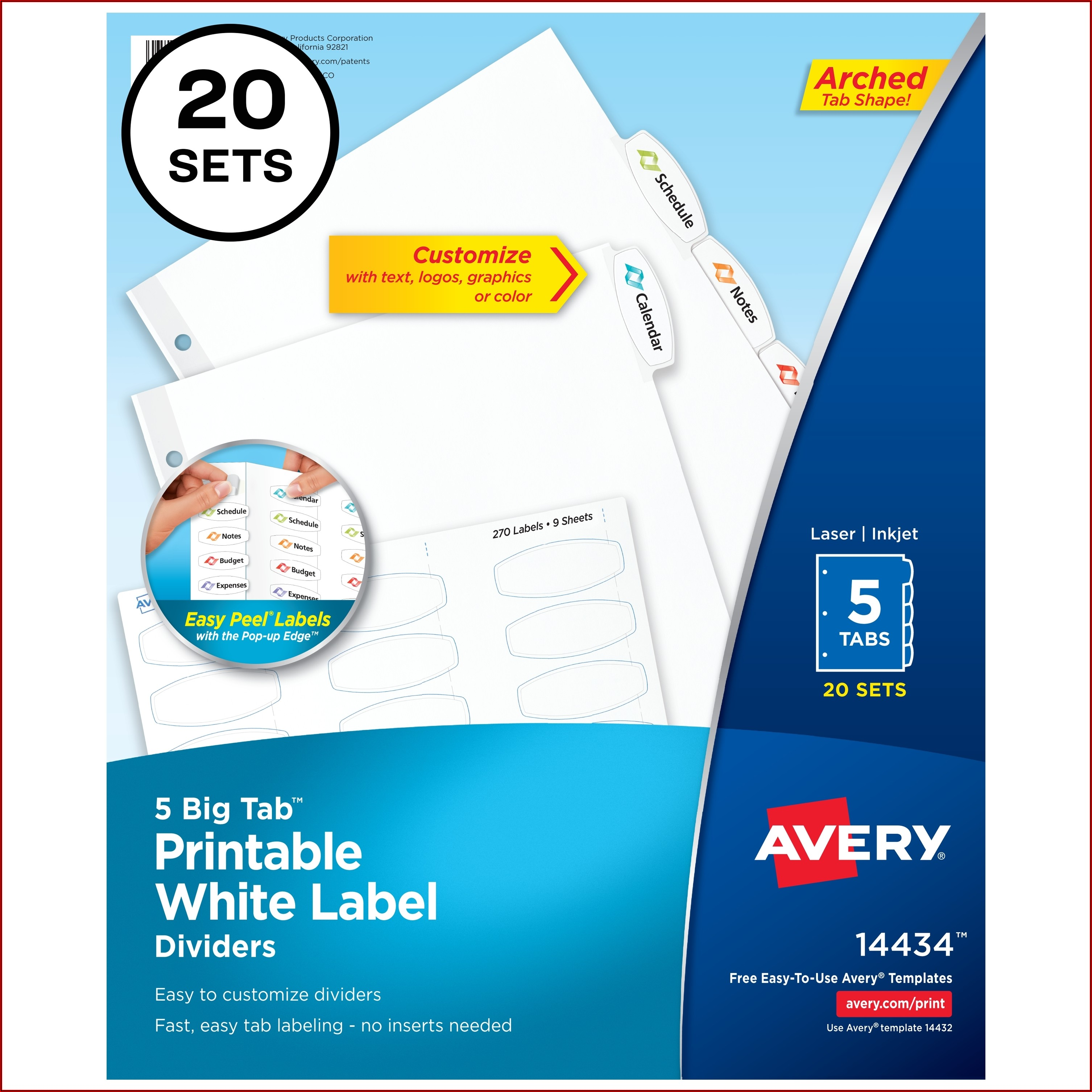 Avery Print On Tabs Template 20405