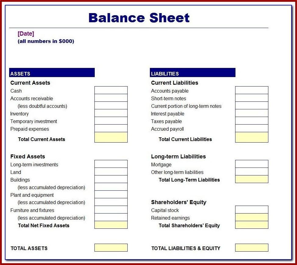 Blank Balance Sheet Forms Free