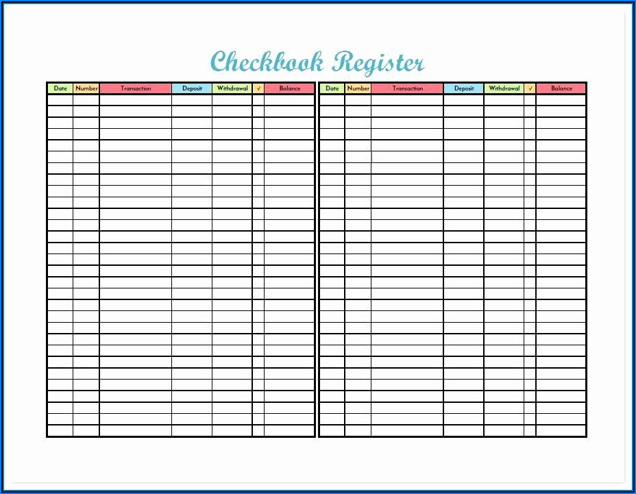 Blank Check Register Form