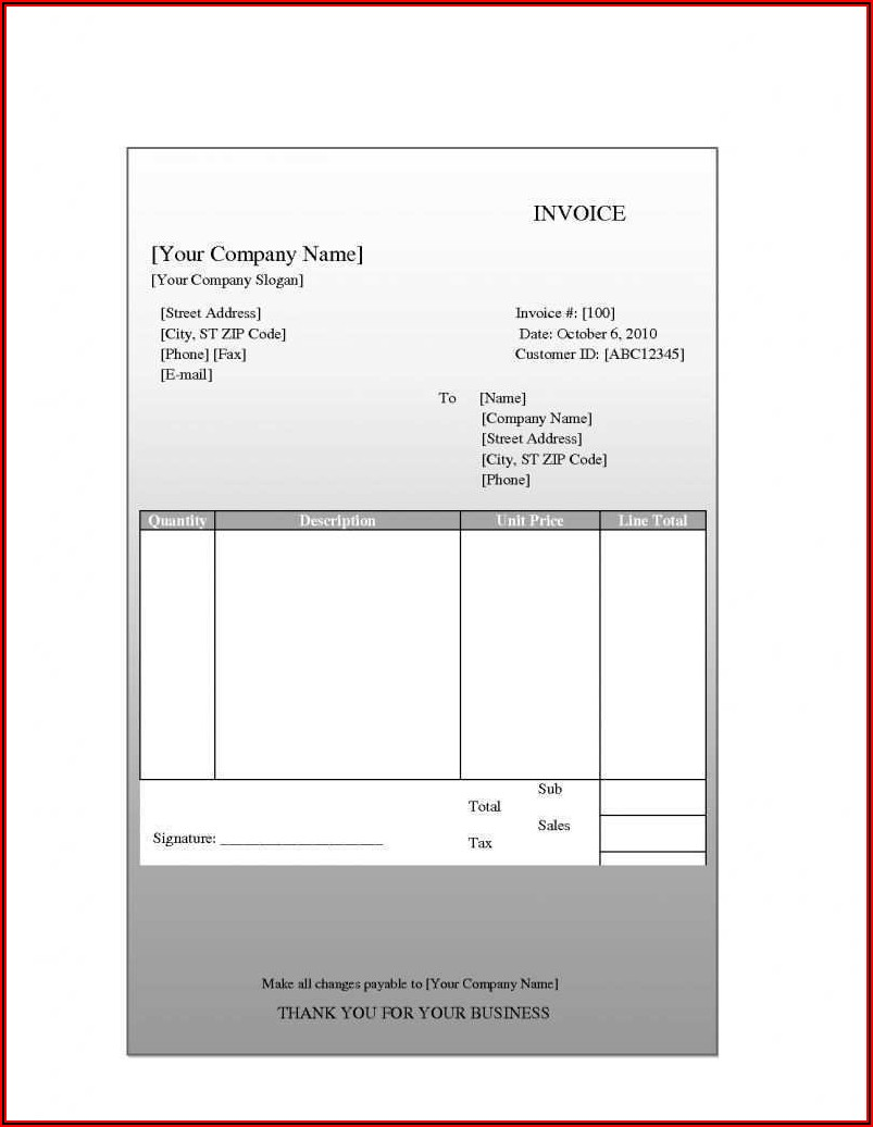 Blank Invoice Template For Mac