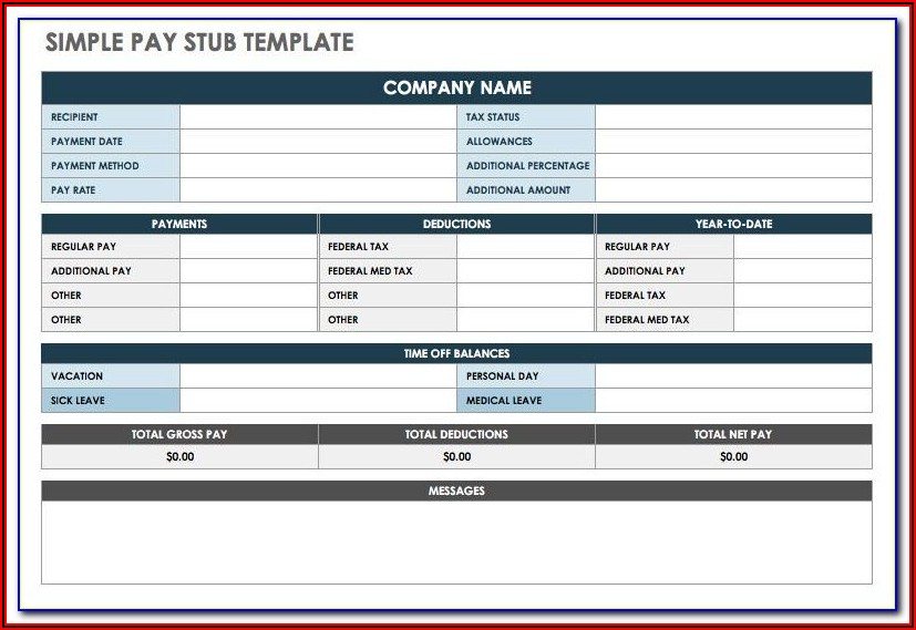 Blank Pay Stubs Template Excel