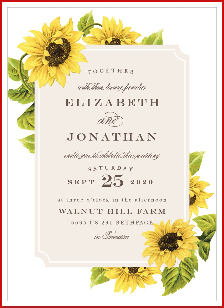 Blank Sunflower Invitation Template