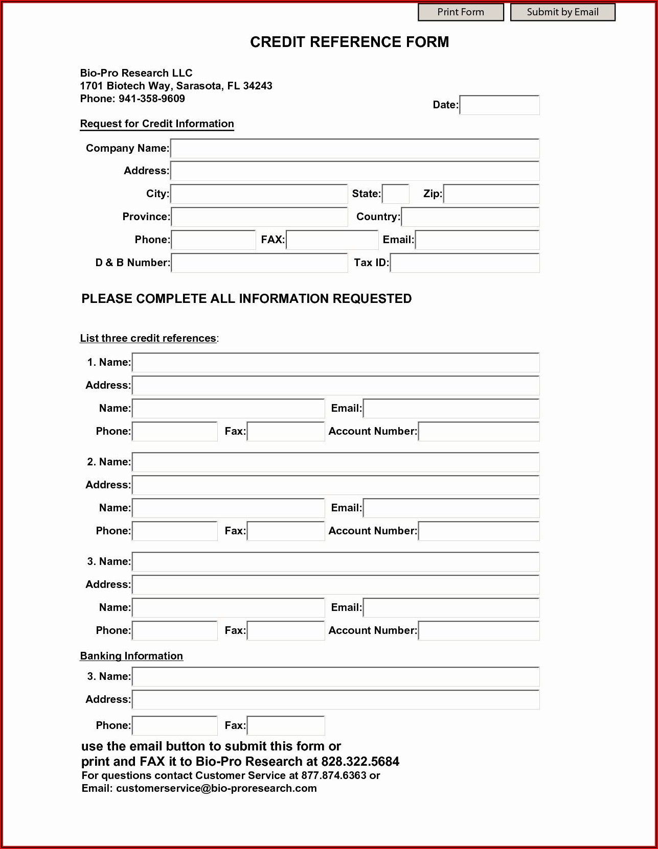 Business Credit Check Form Template
