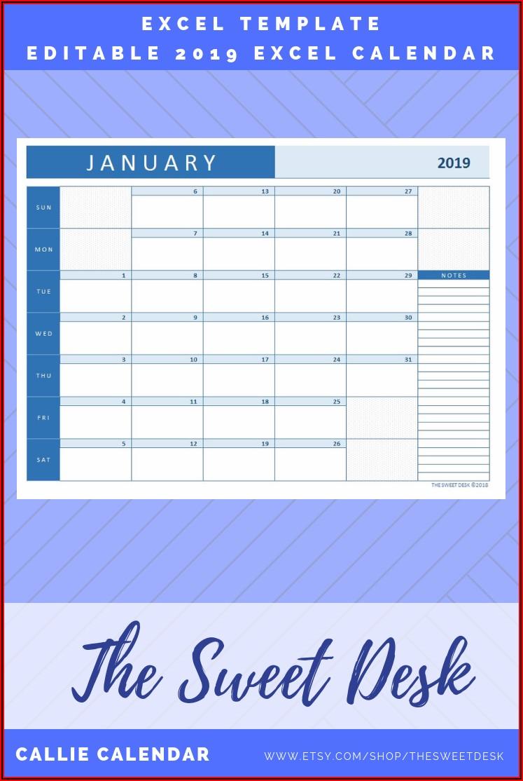 Calendar Planner Template 2019 Excel