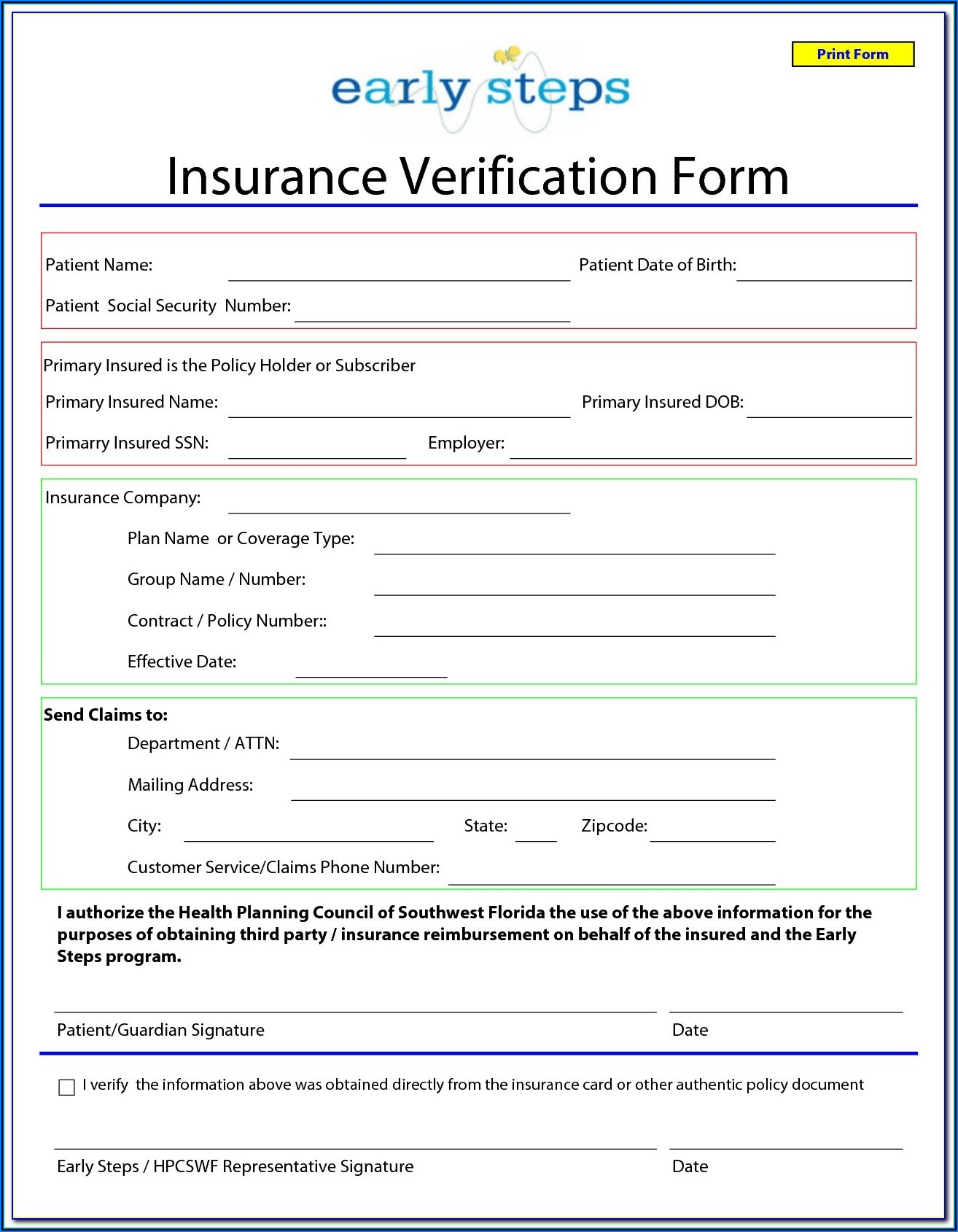 Car Insurance Forms Blank