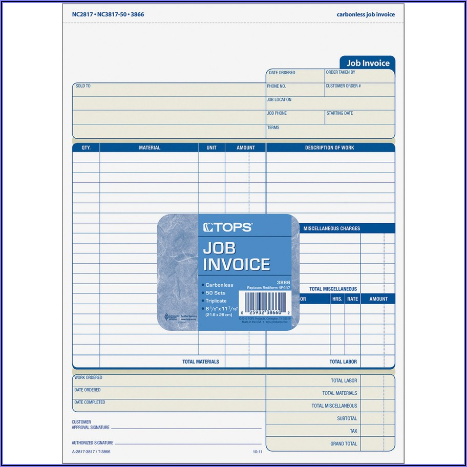 Carbonless Job Invoice Forms