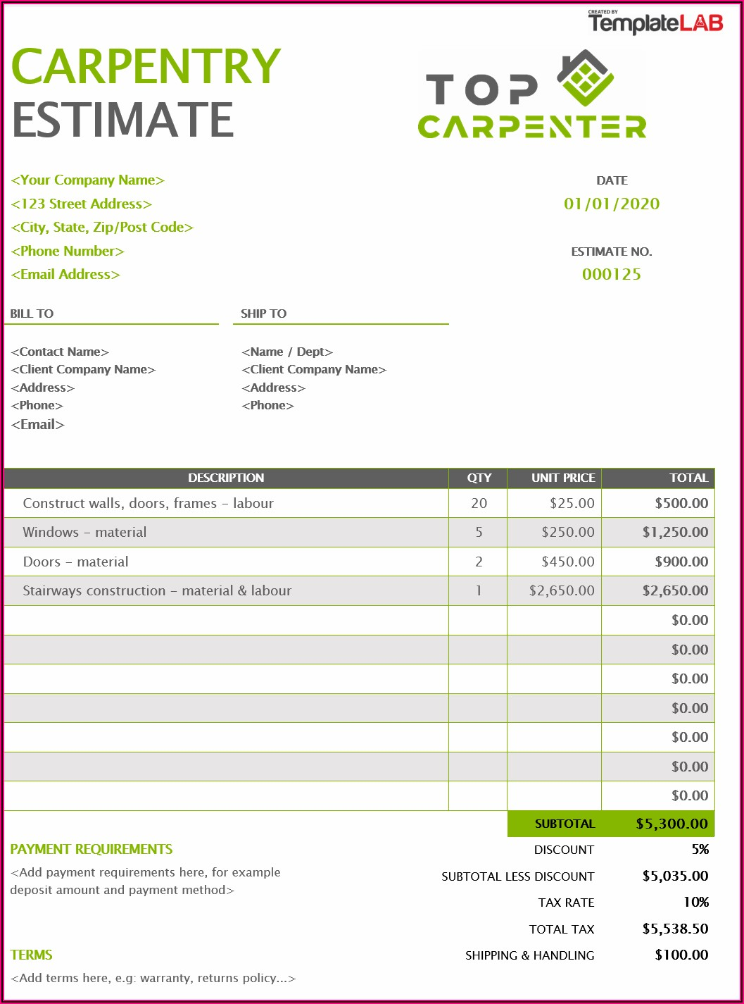 Carpentry Invoice Template