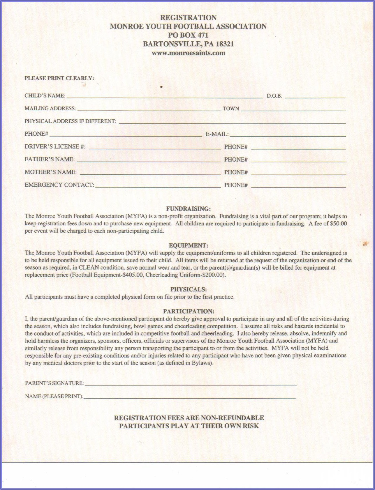 Cheerleading Registration Form Template