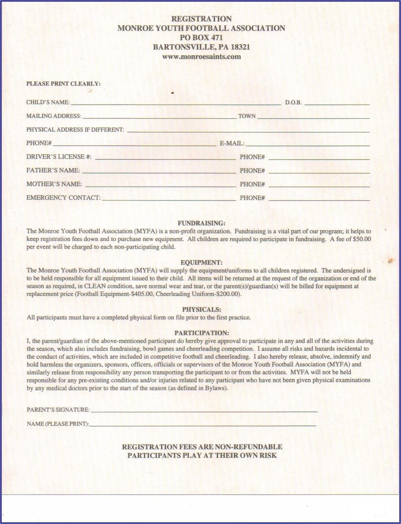 Cheerleading Registration Form Template