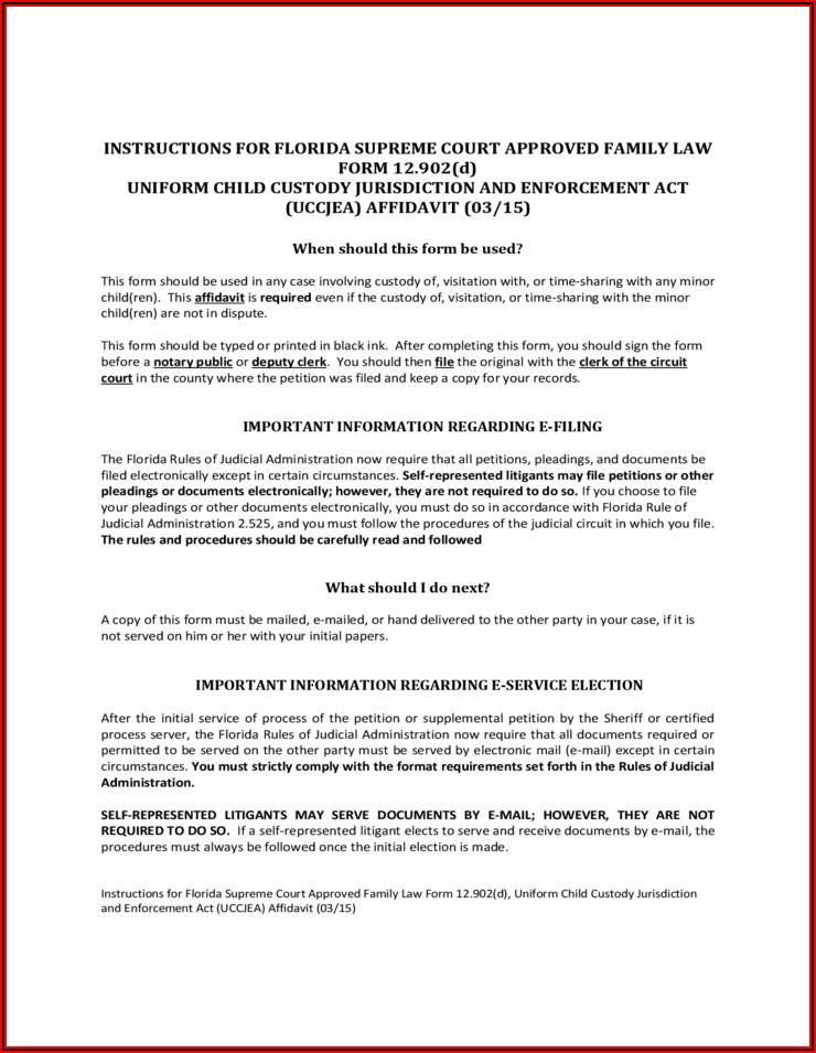 Child Custody Affidavit Example