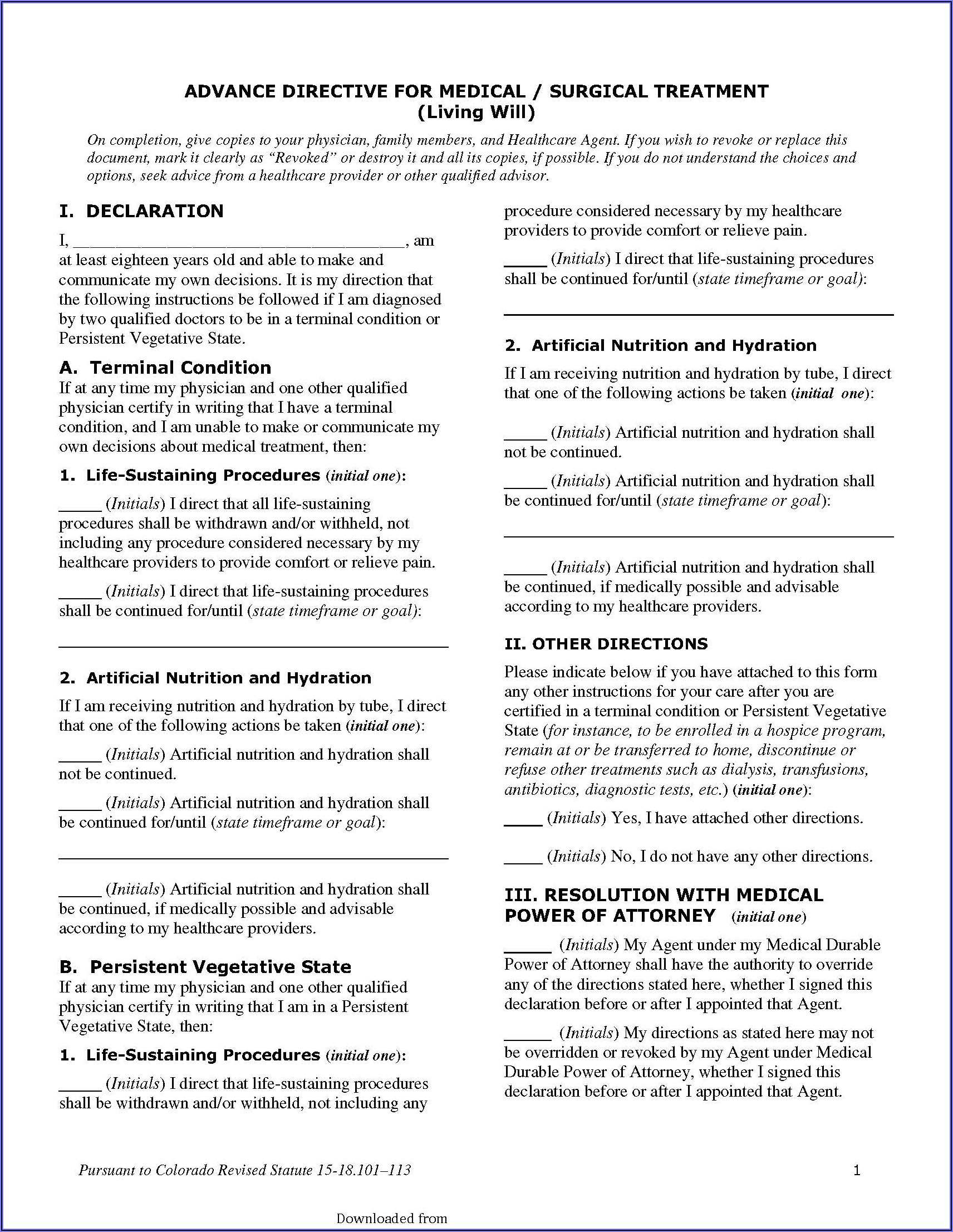 Colorado Advance Medical Directive Form