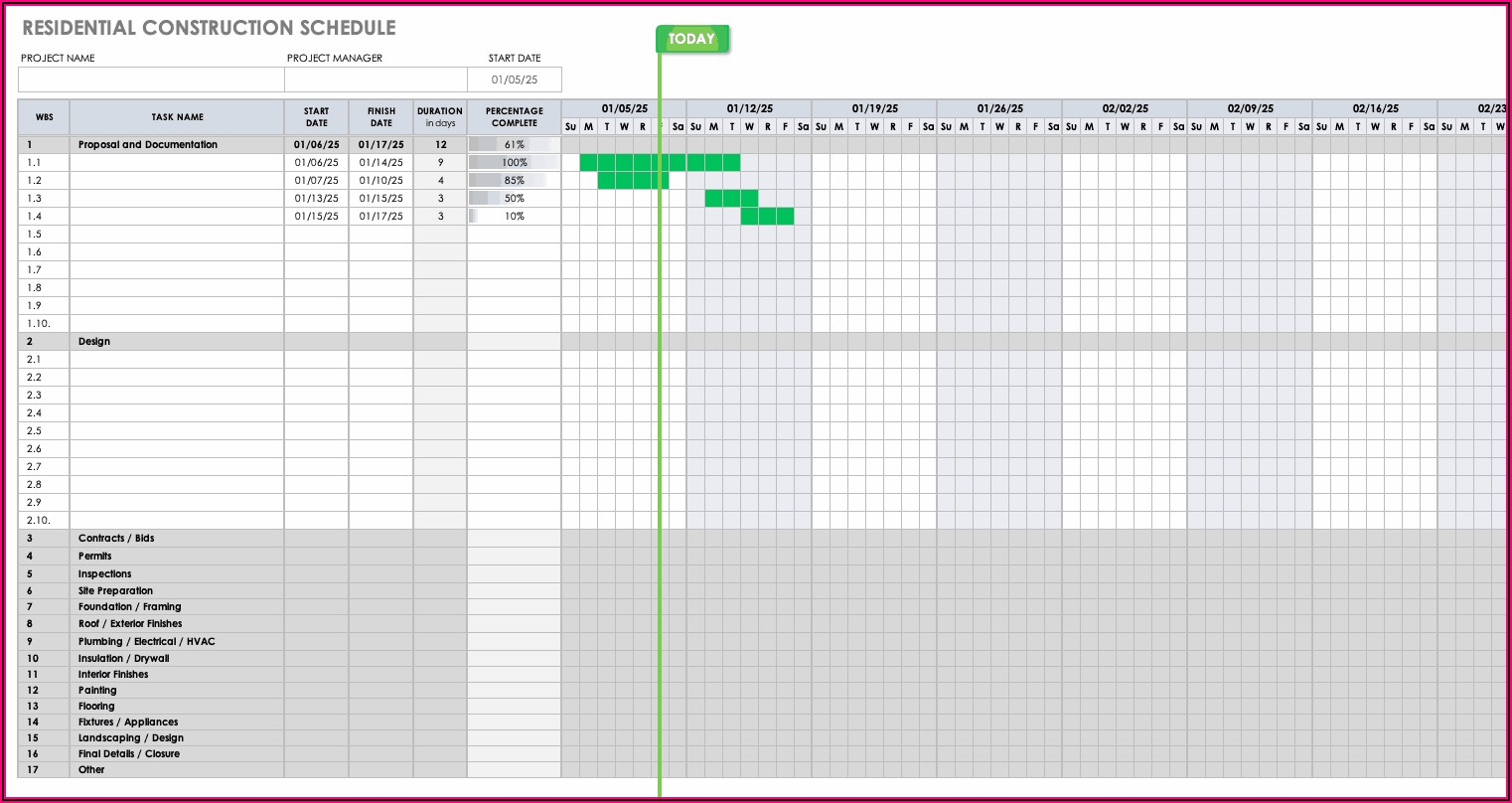 Commercial Construction Schedule Template Excel Free